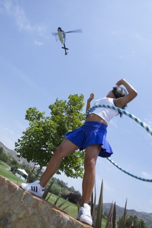 (2009 San Diego) No helicopter landing would be complete without a hula hooping GOG